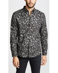 Club Monaco - Flannel Cheetah Camo Button-down Shirt - Lyst