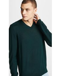 Vince - Merino Wool Elbow Patch V Neck Sweater - Lyst