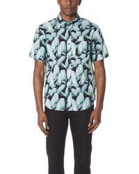 Club Monaco - Short Sleeve Palm Fronds Shirt - Lyst