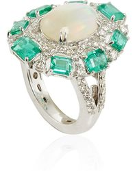 Sutra - White Opal And Emerald Ring - Lyst