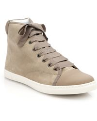 Lanvin Suede High-Top Sneakers - Lyst