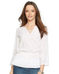Ralph Lauren Embroidered Cotton Tunic white - Lyst