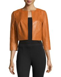 Lafayette 148 New York 34-sleeve Cropped Lambskin Jacket - Lyst