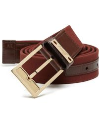 Brioni Woven Cotton & Leather Belt brown - Lyst