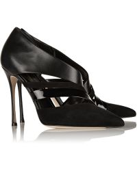 Sergio Rossi Cutout Suede and Leather Pumps - Lyst