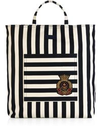 Gucci Striped Cotton And Linen-Blend Canvas Tote - Lyst