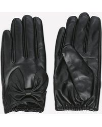Bebe - Short Leather Bow Gloves - Lyst