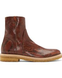 Maison Margiela Brown Embossed Leather Zip_up Jodhpur Boots - Lyst