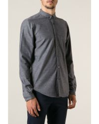 Mr Start Grey Mini Collar Shirt - Lyst
