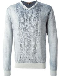 Roberto Cavalli Crocodile Effect Knitted Sweater - Lyst