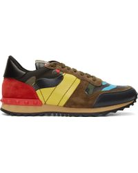 Valentino Khaki Multicolor Suede and Leather Patchwork Sneakers - Lyst