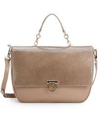 Versace Snake-Embossed Leather Shoulder Bag - Lyst