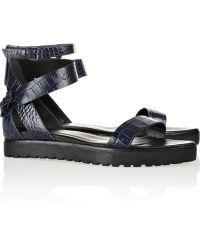 Alexander Wang Jade Croceffect Leather Sandals - Lyst