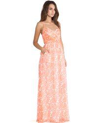 Shoshanna Coral Reef Chiffon Maxi Dress - Lyst