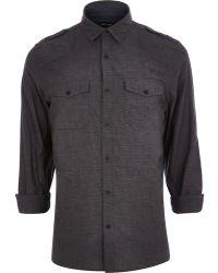 River Island Grey Crosshatch Utility Shirt - Lyst