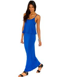 Missguided Yasmina Frill Maxi Dress in Cobalt Blue - Lyst