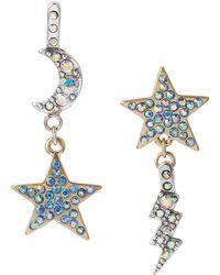 Betsey Johnson Star and Moon Mismatch Drop Earrings - Lyst