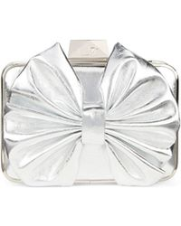 Belle By Badgley Mischka - Roxie Metallic Bow Clutch - Lyst