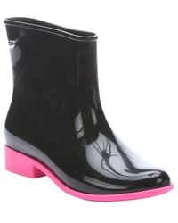 Melissa Black And Pink Rubber 'Goji Berry' Scented Almond Toe Boots - Lyst