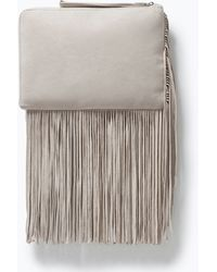 Zara Leather Clutch With Fringes - Lyst
