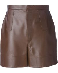 Givenchy High-Waisted Leather Shorts - Lyst