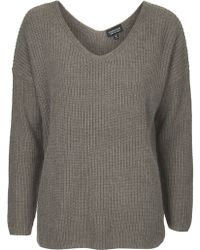 Topshop Clean Rib V Sweater - Lyst