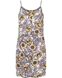 Topshop Womens Petite Morris Floral Slip Dress  Peach - Lyst