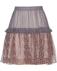 Chloé Printed Silk Chiffon Miniskirt purple - Lyst