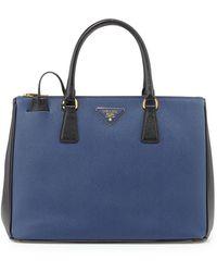 Prada Saffiano Lux Bicolor Double-Zip Tote Bag - Lyst