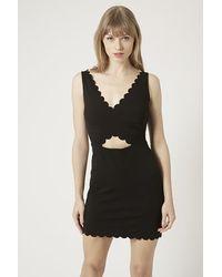 Topshop Scallop Wrap Bodycon Dress - Lyst