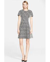 Lela Rose Chevron Jacquard Fit & Flare Dress - Lyst