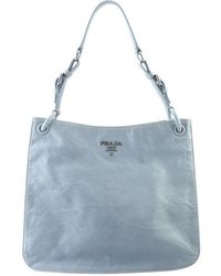 Prada Blue Leather Hobo