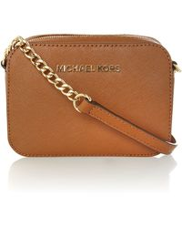 Michael Kors Jet Set Travel Tan Small Chain Cross Body - Lyst