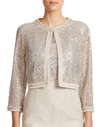 Kay Unger Sequined Lace & Tweed Cropped Jacket silver - Lyst