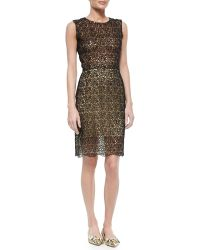 Oscar de la Renta Sheer Rose Lace Dress - Lyst