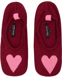 CASH CA | Burgundy Love Heart Cashmere Slippers | Lyst