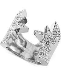 Vince Camuto - Rhodium-plated Pavé Crystal Open Star Hinge Ring - Lyst