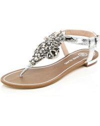 River Island | Silver Embellished Sandals | Lyst