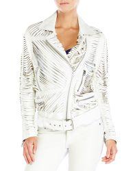 Acne Studios White Mason Shredded Leather Jacket - Lyst