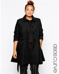 Asos Curve Exclusive Fit & Flare Coat With Belted Waist - Lyst