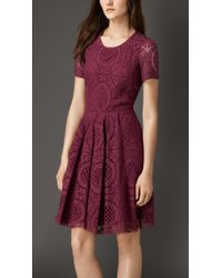 Burberry English Lace A-Line Dress red - Lyst