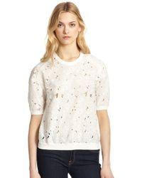 Rebecca Taylor Jersey-Back Cutout Lace Sweatshirt - Lyst