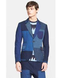 Junya Watanabe Extra Trim Fit Colorblock Single Button Sport Coat blue - Lyst