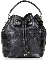 Topshop   Croc-Embossed Faux-Leather Bucket Bag   Lyst