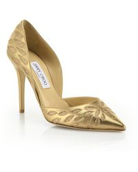 Jimmy Choo Daysha Glittered-Pattern Metallic Leather Pumps gold - Lyst