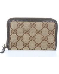 Gucci Beige and Ebony Cocoa Gg Canvas Zip Card Case - Lyst