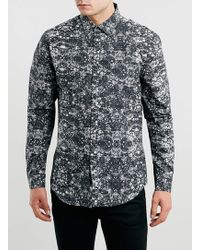 Topman Black Marble Print Long Sleeve Smart Shirt - Lyst