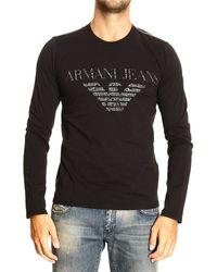 Armani Jeans Tshirt Long Sleeve Crewneck Big Logo - Lyst