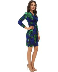 Adrianna Papell Wrap Dress With 3/4 Sleeve - Lyst