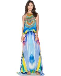 Camilla Sheer Overlay Dress multicolor - Lyst